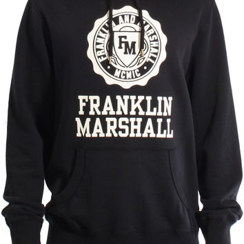 Franklin & Marshall AW15 Crest Logo Print Popover Sweat Hoodie