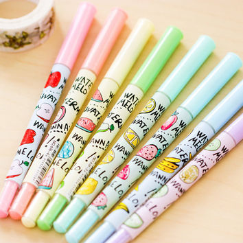 Kawaii Fruit Gel Pens Set, School supplies, Cute Stationery, Watermelon, Banana, Lemon, Strawberry