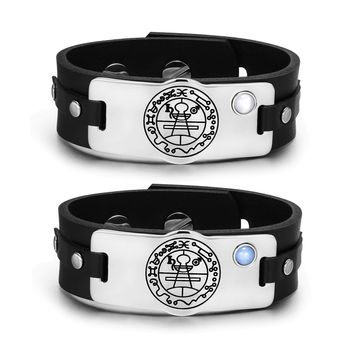 Secret Seal of Solomon Amulets Love Couples Blue White Simulated Cats Eye Leather Bracelets