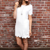 Ivory Scalloped Hem Dress