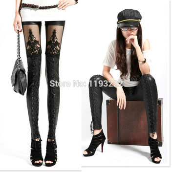 Punk Gothic Black Faux Leather Leggings Lace Floral See-through Cross Bandage Tied Tights S-XL