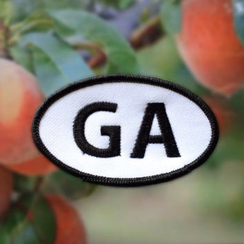 "Georgia GA Patch - Iron or Sew On - 2"" x 3.5"" - Embroidered Oval Appliqué - The Peach State - Black White Hat Bag Accessory Handmade USA"