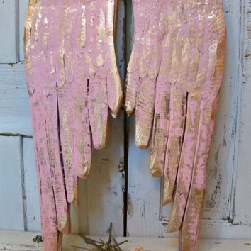 Large wooden wings pink metal wood carved wall sculpture accented with gold French decor shabby chic Anita Spero