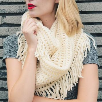 Warm Greetings Tassel Infinity Scarf, Ivory