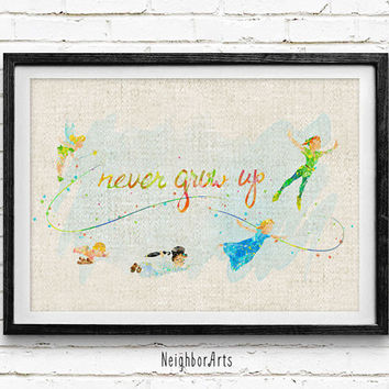 Disney Peter Pan Never Grow Up Watercolor Art Print, Kids Decor, Wall Art, Home Decor, Not Framed, Buy 2 Get 1 Free!