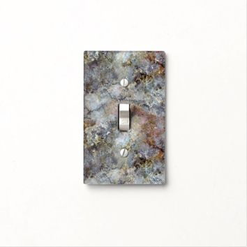 Multi-colored Iridescent Marble with Gold Veins Light Switch Cover