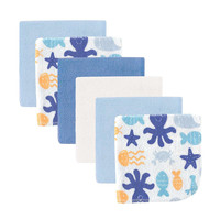 Luvable Friends 6 Pack Washcloths - Blue Sea Animals