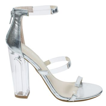 Hyphen07s Silver By Bamboo, Lucite Sandal w Perspex High Block Heel Transparent Strap