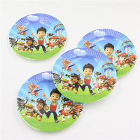 new arrival pawed patrolling child kids boys birthday party paper plate 7inch printing round plates party supplies 10pcs/lot