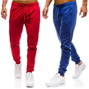 Dropshipping Men Joggers Elastic Waist Long Trousers 2018 Brand Fashion Casual Solid Color Fitness Workout Sweatpants Blue Red