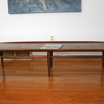 Mid Century Bassett Surfboard Walnut Coffee Table