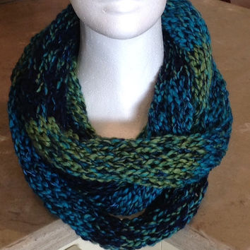 Blue And Green Infinity Eternity Circle Knitted Winter Scarf