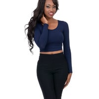 Navy Long Sleeve Stretch Crop Top