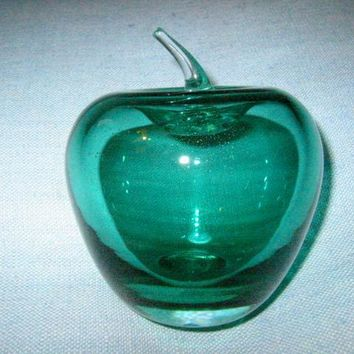 Blenko Green Glass Apple Paperweight Clear Stem Mouth Blown