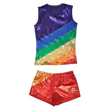 O3CHSET007 - Obersee Cheer Dance Tank and Shorts Set - Rainbow