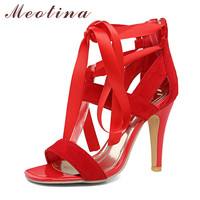 Meotina Women Shoes Sandals 2017 Summer Cross Tied High Heel Sandals Gladiator Women Sexy Party Heels Blue Red Large Size 44 45