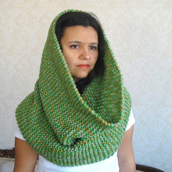 chunky cowl, wool cowl Green Large Warmer, Huge Chunky Infinity Scarf Shawl hood hooded snood, gift for her, christmas gifts for woman