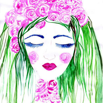 Wild roses, Girl, print, Watercolor paintng, handmade, watercolour, fashion, beauty, wall decal, girl room decor, gift for her, decals, deco