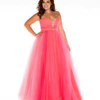 Mac Duggal Prom 2013- Neon Coral Sweetheart Gown With Embellishments - Unique Vintage - Cocktail, Pinup, Holiday & Prom Dresses.