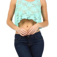 Sexy Lace Embroider Net Wrapped Back Cropped Hi-Low Hem Tank Top Shirt Blouse