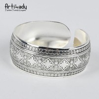Artilady boho antic silver cuff copper bangle bohemia antalya carve pattern bangle