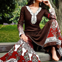 Brown and Maroon Cotton Jacquard Palazzo Style Suit