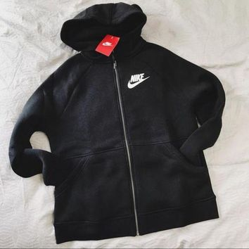 PEAP2Q nike black zip up hoodie jacket sweater sweatshirts