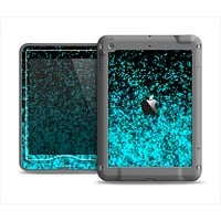 The Black and Turquoise Unfocused Sparkle Print Apple iPad Mini LifeProof Nuud Case Skin Set