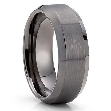 Gunmetal Tungsten Ring - Gray Tungsten Band - 8mm Wedding Band - Brush