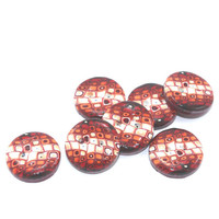 Elegant buttons in Retro pattern, Polymer clay buttons in maroon, red, orange and white, set of 7 medium buttons
