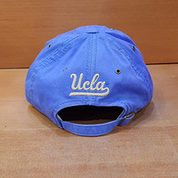 ADIDAS SLD UCLA ADJUSTABLE BASEBALL HAT LIGHT BLUE UCLA ARCH OVER BRUINS IN WHITE SOFT APPLIQUE EW62Z
