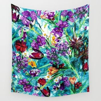 Floral Jungle Wall Tapestry by RIZA PEKER