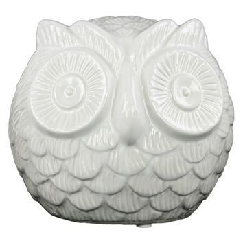 Ceramic Gloss Finish White Spherical Owl Figurine