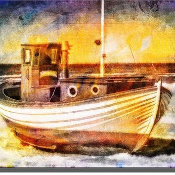 Fishing Boat, Vessel on Sand Picture on Acrylic , Wall Art Decor Sign Ready to Hang!.