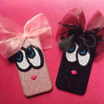 New High Quality Fashion Glitter Bow Knot Big Blink Eyes Design PC Cover Case For iPhone 6 6s 6 plus 6s plus Free Shipping