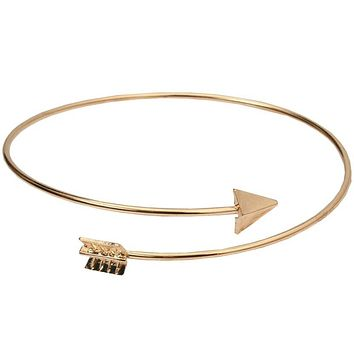 Simple Fashion Women Metal Punk Cuff Arrow Bangle Bracelet Jewelry