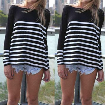 CREY7ON LOOSE STRIPED LONG-SLEEVED ROUND NECK T-SHIRT