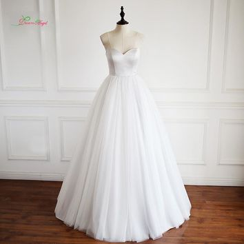 Dream Angel Robe De Mariee Strapless Beach Wedding Dresses 2017 Sexy Off The Shoulder Tulle Princess Bridal Gown Plus Size