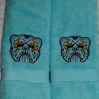 Light Blue Sugar Skull English Bulldog Day Of The Dead Embroidery Hand Towels