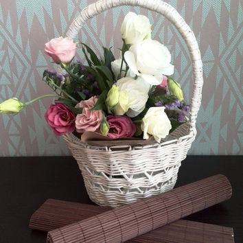 Basket Flower girl basket Handmade Basket Wedding White basket Wedding decor Paper basket Home decor Organizer Easter basket