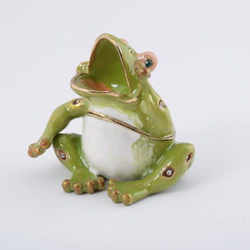 Shouting Sitting Frog Faberge Styled Trinket Box Handmade by Keren Kopal Enamel Painted Decorated with Swarovski Crystals