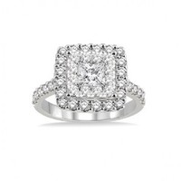 1 1/2ct tw Diamond Cluster Style Fashion Ring in 14K White Gold - Fashion - Diamond Rings - Jewelry & Gifts