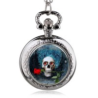 Steampunk Gothic Style Vintage Cool Evil Skull Pocket Watch Necklace Pendant with Chain Gift