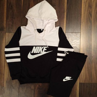 Trendy Nike Womens Sports Hoodies Pants Two Piece Set Sportswear