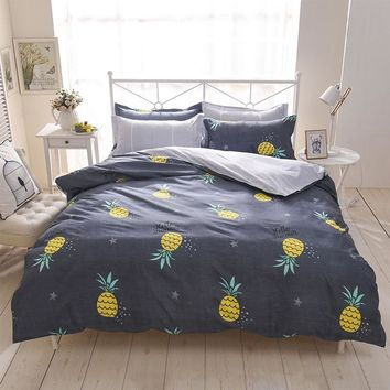 Pineapple Bedding Set Printed Fruit Cool Feel Bedsheet Soft 100% Polyester fiber Duvet Cover Set 4pcs King Queen Size bed sets