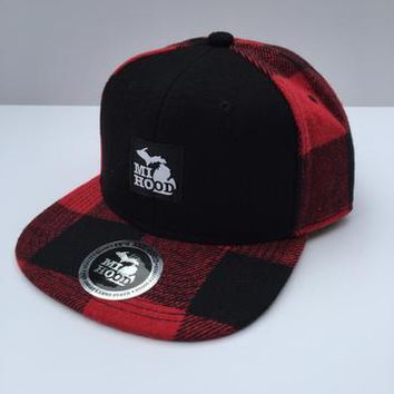 Ink Detroit MI Hood Red Plaid Snapback Hat