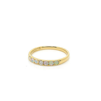 Opal and Diamond Modern Band Ring in 14k Yellow Gold