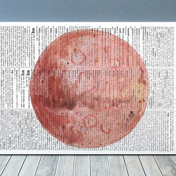 Mercury decor Watercolor print Dictionary poster Space print RTA2126