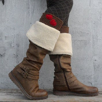 Valentine Boot Toppers Warm Winter Brown Boot Cuffs Women Red Heart Love Boot Socks Crochet Wool Boot Warmers Boot Tops - BC0008