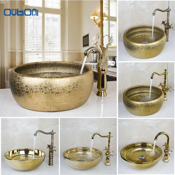 OUBONI New Arrival Bathroom Faucet Round Paint Golden Bowl Sinks / Vessel Basins Washbasin Ceramic Basin Sink & Faucet Tap Set